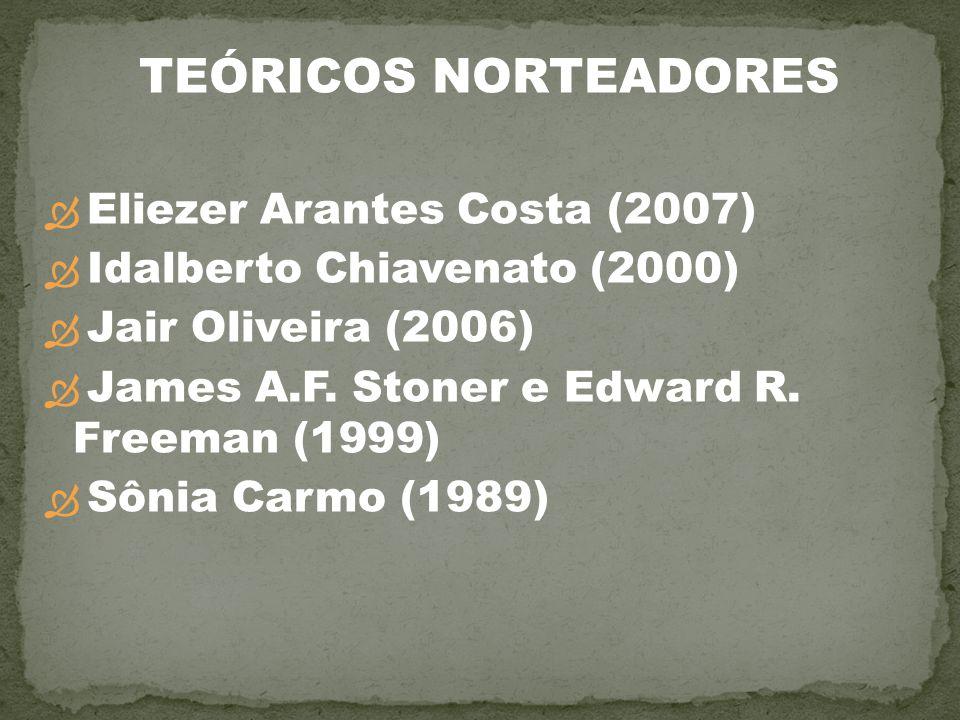 Eliezer Arantes Costa (2007) Idalberto Chiavenato (2000) Jair Oliveira (2006) James A.F. Stoner e Edward R. Freeman (1999) Sônia Carmo (1989) TEÓRICOS