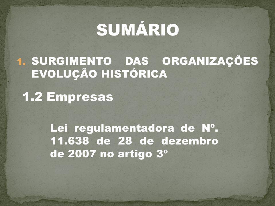 1. SURGIMENTO DAS ORGANIZAÇÕES EVOLUÇÃO HISTÓRICA 1.2 Empresas Lei regulamentadora de Nº. 11.638 de 28 de dezembro de 2007 no artigo 3º