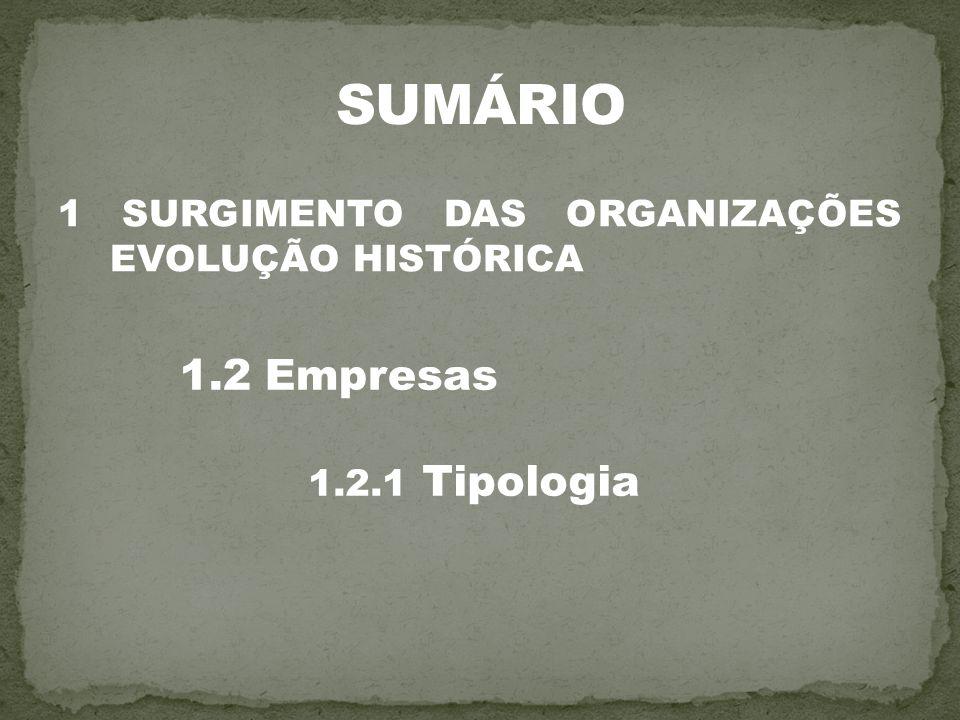 1 SURGIMENTO DAS ORGANIZAÇÕES EVOLUÇÃO HISTÓRICA 1.2 Empresas 1.2.1 Tipologia