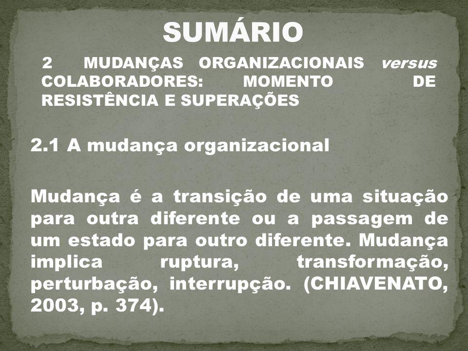 2 MUDANÇAS ORGANIZACIONAIS versus COLABORADORES: MOMENTO DE RESISTÊNCIA E SUPERAÇÕES 2.1 A mudança organizacional Mudança é a transição de uma situaçã