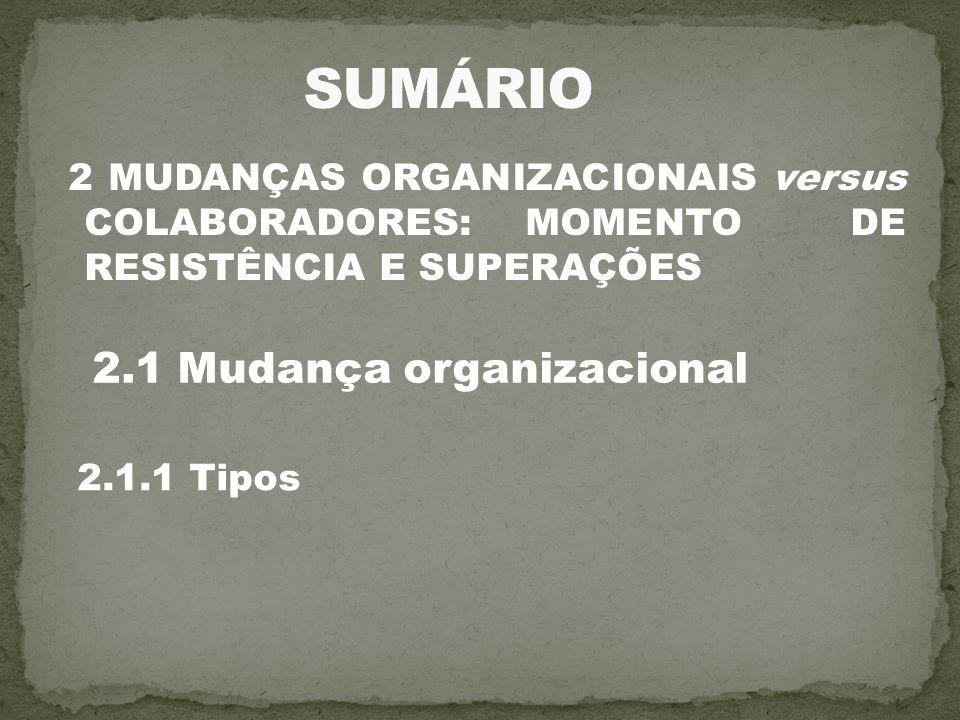 2 MUDANÇAS ORGANIZACIONAIS versus COLABORADORES: MOMENTO DE RESISTÊNCIA E SUPERAÇÕES 2.1 Mudança organizacional 2.1.1 Tipos