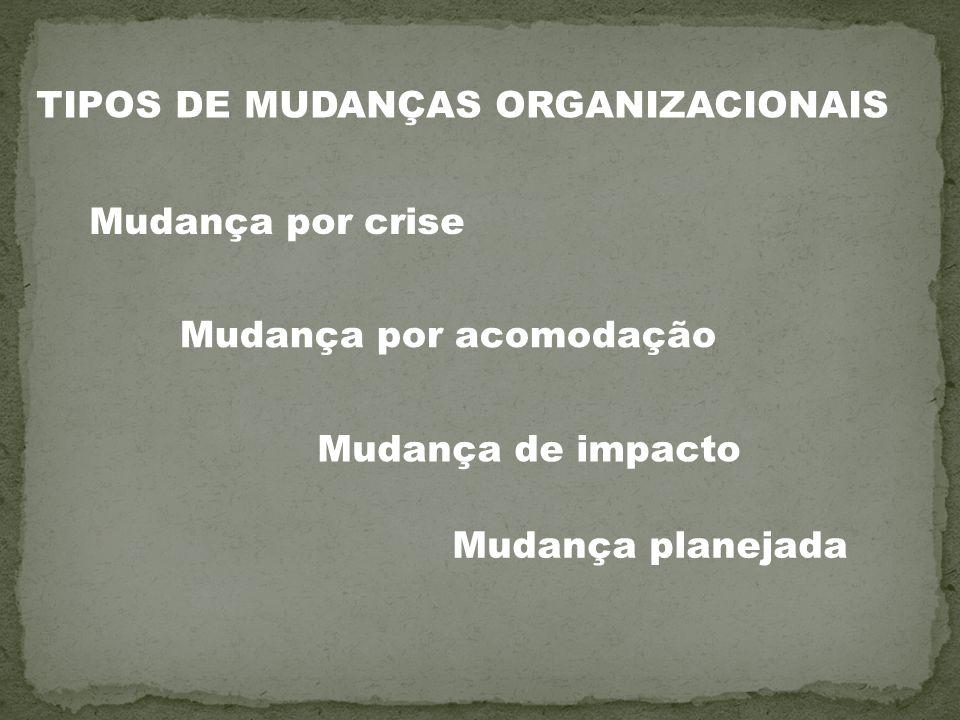 TIPOS DE MUDANÇAS ORGANIZACIONAIS Mudança por acomodação Mudança por crise Mudança de impacto Mudança planejada