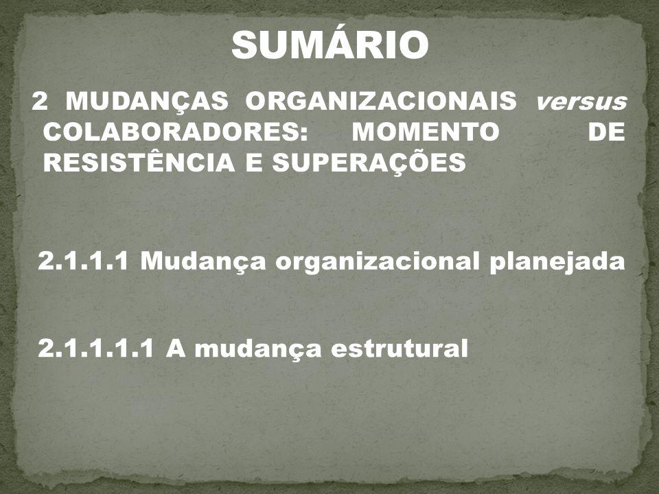 2 MUDANÇAS ORGANIZACIONAIS versus COLABORADORES: MOMENTO DE RESISTÊNCIA E SUPERAÇÕES 2.1.1.1 Mudança organizacional planejada 2.1.1.1.1 A mudança estr
