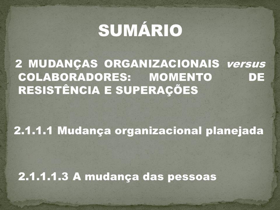 2 MUDANÇAS ORGANIZACIONAIS versus COLABORADORES: MOMENTO DE RESISTÊNCIA E SUPERAÇÕES 2.1.1.1 Mudança organizacional planejada 2.1.1.1.3 A mudança das
