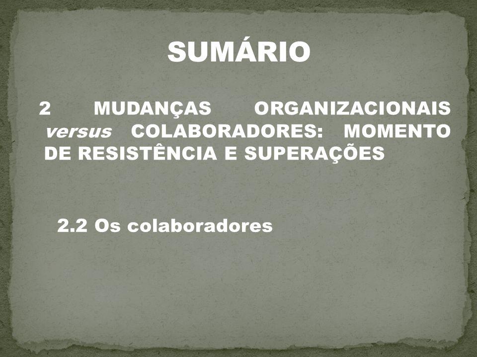 2 MUDANÇAS ORGANIZACIONAIS versus COLABORADORES: MOMENTO DE RESISTÊNCIA E SUPERAÇÕES 2.2 Os colaboradores