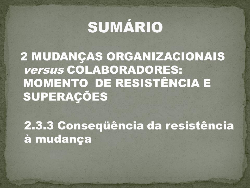 2 MUDANÇAS ORGANIZACIONAIS versus COLABORADORES: MOMENTO DE RESISTÊNCIA E SUPERAÇÕES 2.3.3 Conseqüência da resistência à mudança