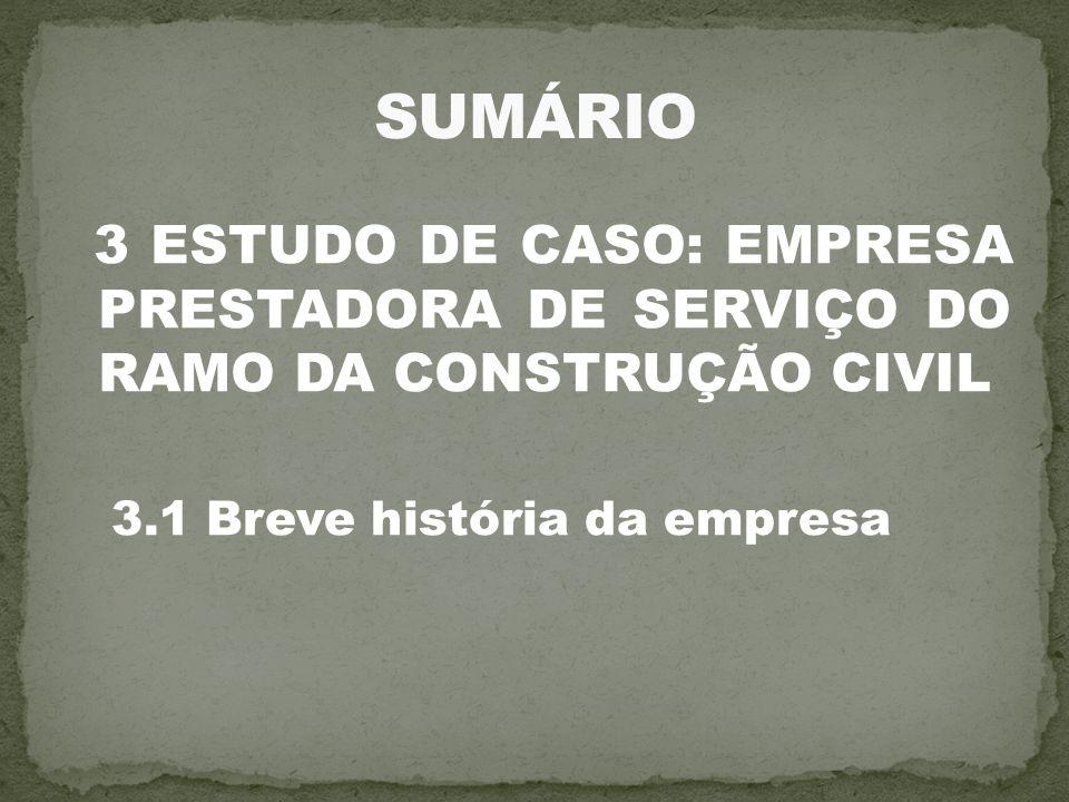 3 ESTUDO DE CASO: EMPRESA PRESTADORA DE SERVIÇO DO RAMO DA CONSTRUÇÃO CIVIL 3.1 Breve história da empresa