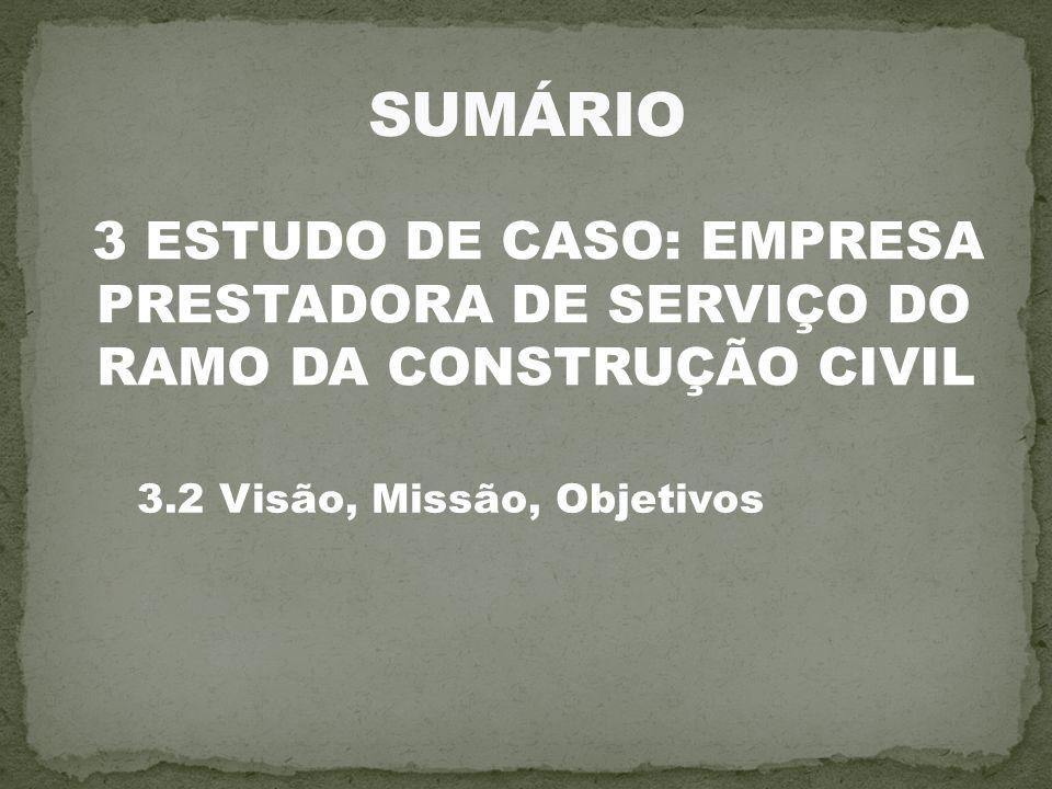 3 ESTUDO DE CASO: EMPRESA PRESTADORA DE SERVIÇO DO RAMO DA CONSTRUÇÃO CIVIL 3.2 Visão, Missão, Objetivos