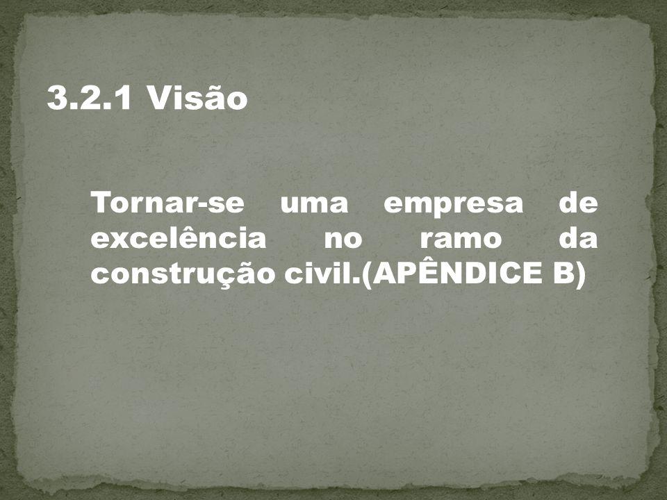 Tornar-se uma empresa de excelência no ramo da construção civil.(APÊNDICE B) 3.2.1 Visão