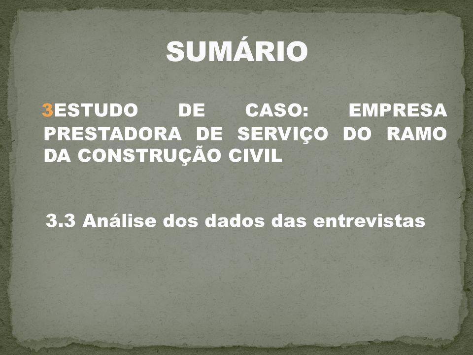 3ESTUDO DE CASO: EMPRESA PRESTADORA DE SERVIÇO DO RAMO DA CONSTRUÇÃO CIVIL 3.3 Análise dos dados das entrevistas