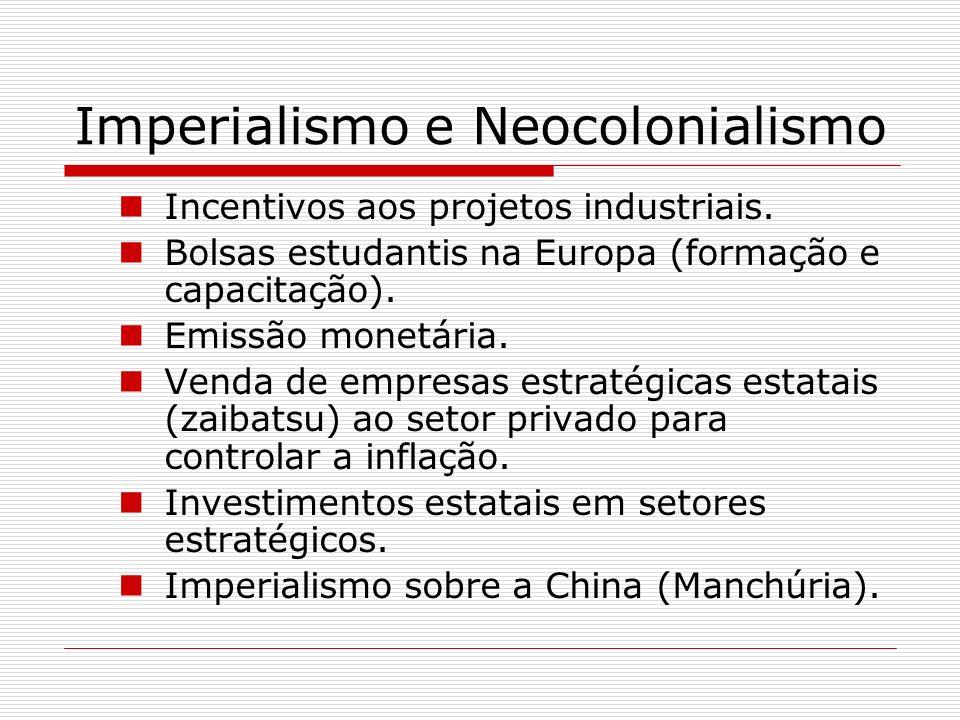 Imperialismo e Neocolonialismo Incentivos aos projetos industriais. Bolsas estudantis na Europa (formação e capacitação). Emissão monetária. Venda de