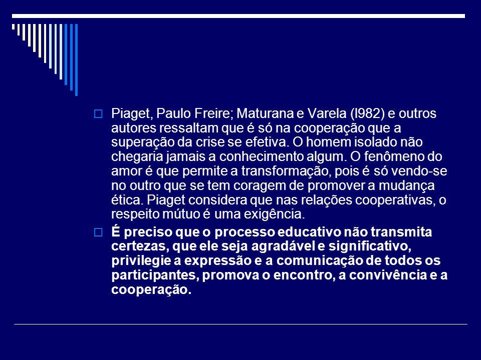 Piaget, Paulo Freire; Maturana e Varela (l982) e outros autores ressaltam que é só na cooperação que a superação da crise se efetiva. O homem isolado