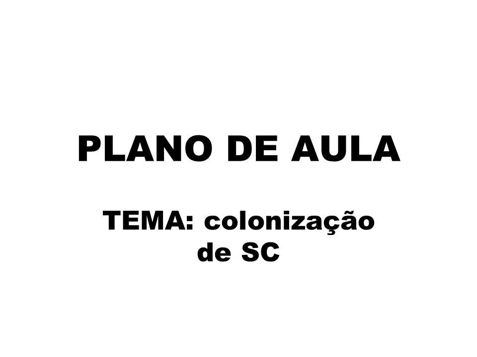 PLANO DE AULA TEMA: colonização de SC