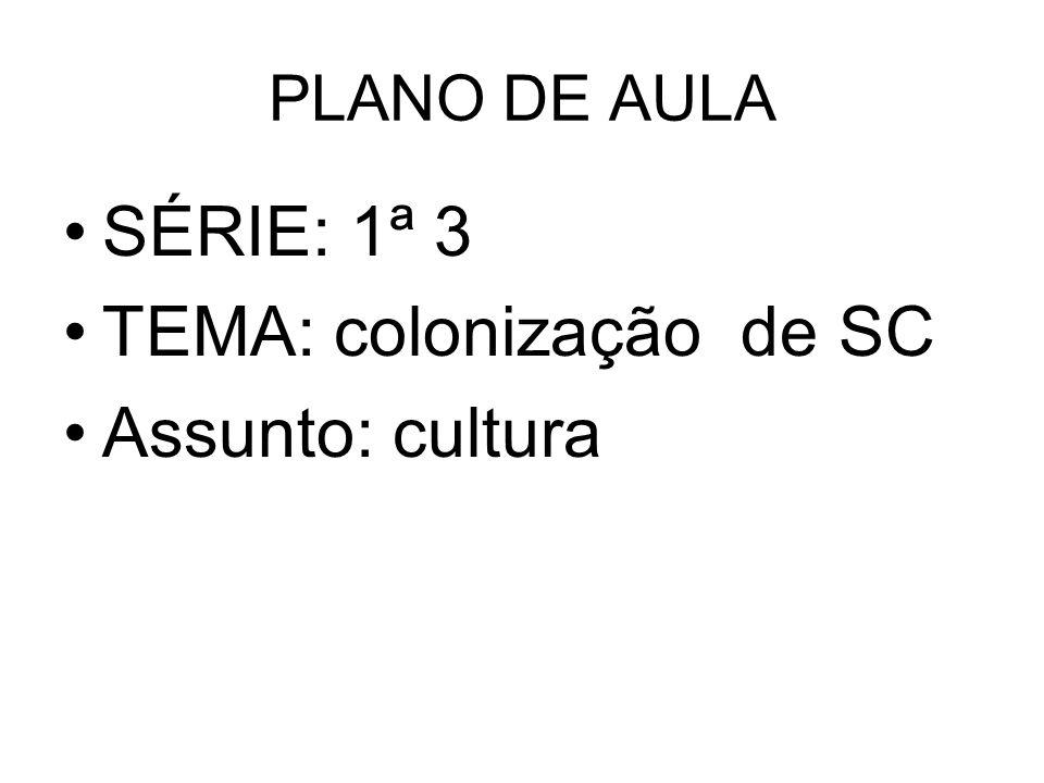 PLANO DE AULA SÉRIE: 1ª 3 TEMA: colonização de SC Assunto: cultura