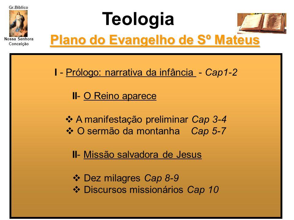 Nossa Senhora Conceição Gr.Bíblico I - Prólogo: narrativa da infância - Cap1-2 II- O Reino aparece A manifestação preliminar Cap 3-4 O sermão da monta