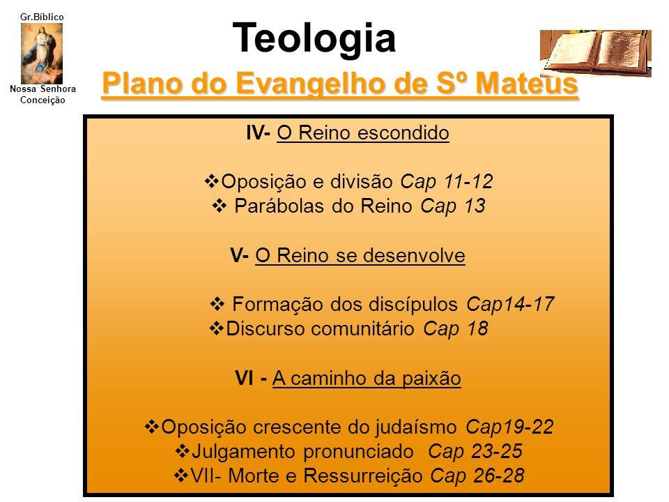 Nossa Senhora Conceição Gr.Bíblico Teologia Plano do Evangelho de Sº Mateus IV- O Reino escondido Oposição e divisão Cap 11-12 Parábolas do Reino Cap