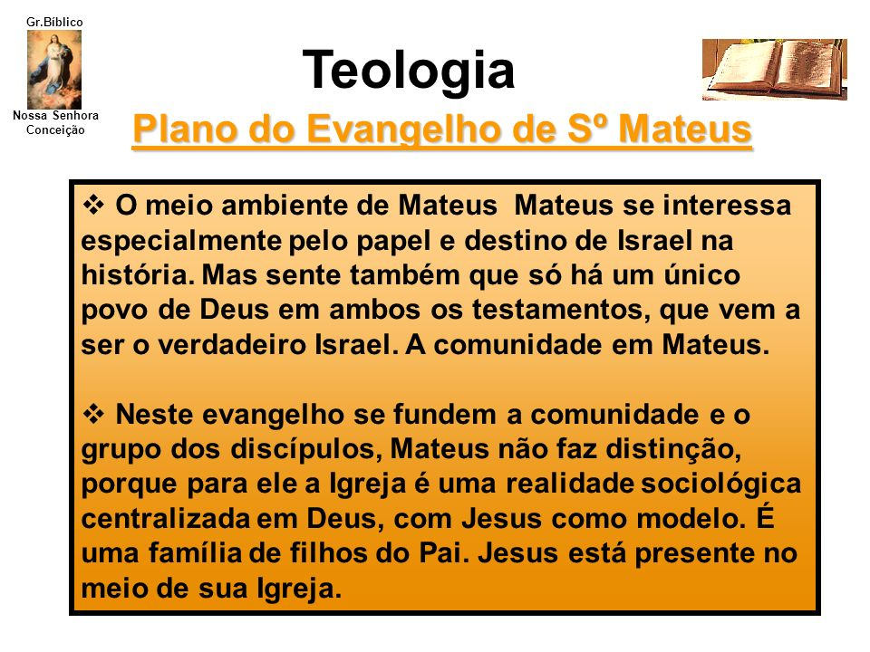 Nossa Senhora Conceição Gr.Bíblico Teologia Plano do Evangelho de Sº Mateus O meio ambiente de Mateus Mateus se interessa especialmente pelo papel e d