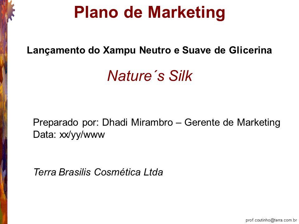 prof.coutinho@terra.com.br Plano de Marketing Nature´s Silk Lançamento do Xampu Neutro e Suave de Glicerina Preparado por: Dhadi Mirambro – Gerente de Marketing Data: xx/yy/www Terra Brasilis Cosmética Ltda