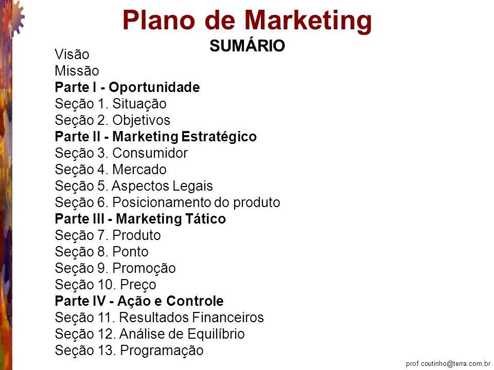 prof.coutinho@terra.com.br Plano de Marketing Parte II - Marketing Estratégico Seção 4 – Mercado 4.5 Sazonalidade: não há...
