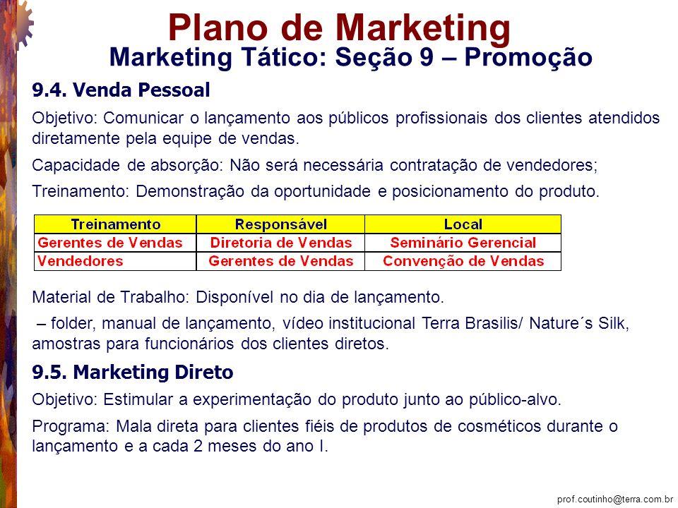 prof.coutinho@terra.com.br Plano de Marketing Marketing Tático: Seção 9 – Promoção 9.4.