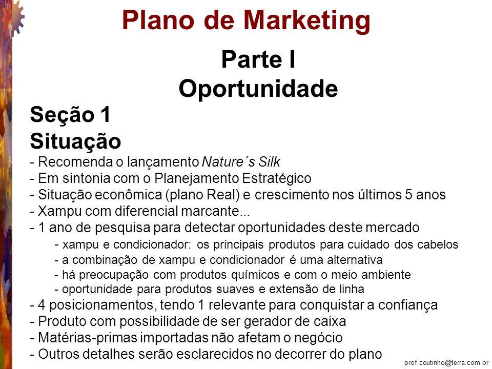 prof.coutinho@terra.com.br Plano de Marketing Marketing Tático: Seção 7 – Produto 7.3.