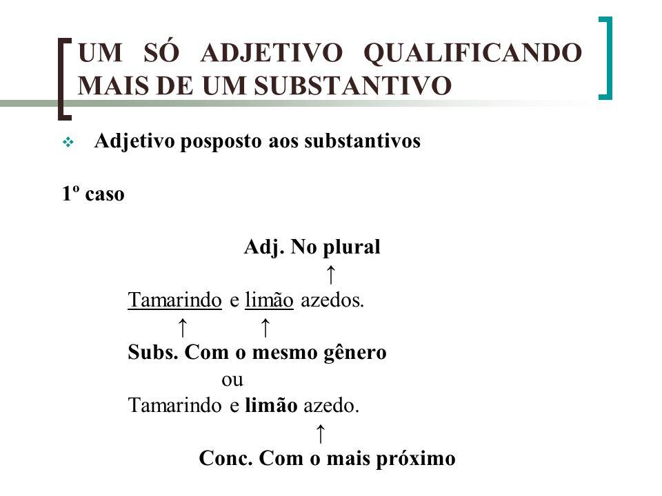 UM SÓ ADJETIVO QUALIFICANDO MAIS DE UM SUBSTANTIVO Adjetivo posposto aos substantivos 1º caso Adj. No plural Tamarindo e limão azedos. Subs. Com o mes