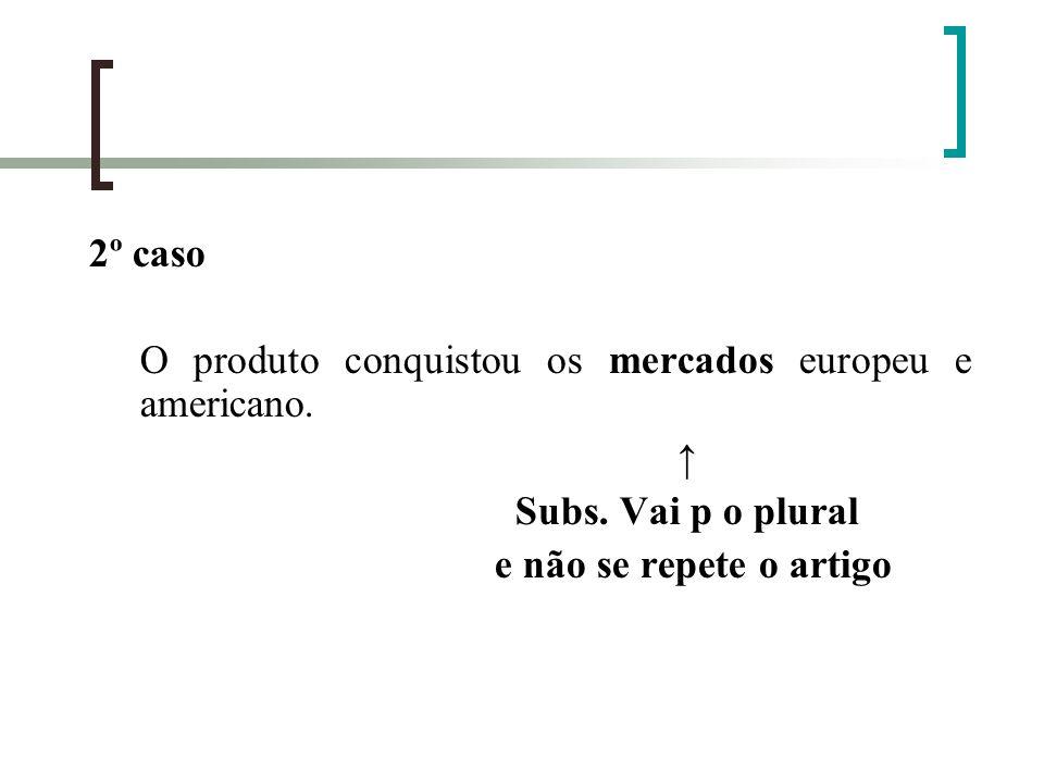 2º caso O produto conquistou os mercados europeu e americano. Subs. Vai p o plural e não se repete o artigo
