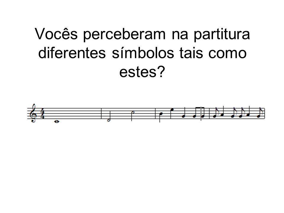 Vocês perceberam na partitura diferentes símbolos tais como estes?