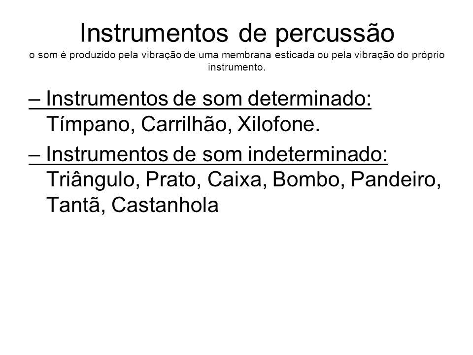 Instrumentos de percussão o som é produzido pela vibração de uma membrana esticada ou pela vibração do próprio instrumento. – Instrumentos de som dete