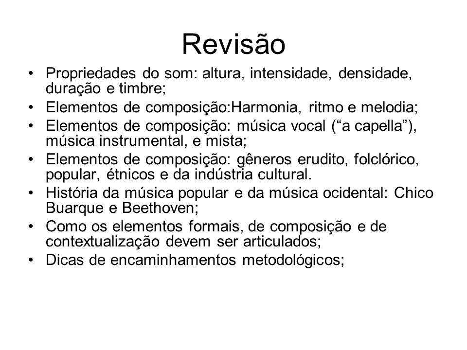 Revisão Propriedades do som: altura, intensidade, densidade, duração e timbre; Elementos de composição:Harmonia, ritmo e melodia; Elementos de composi