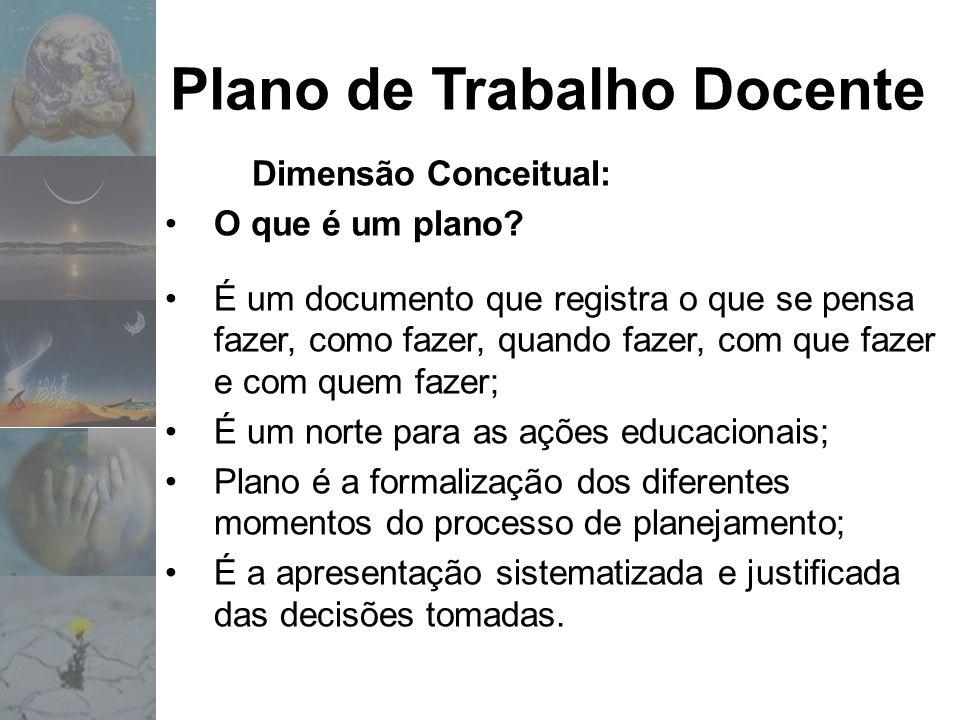 Plano de Trabalho Docente Dimensão Conceitual: O que é um plano? É um documento que registra o que se pensa fazer, como fazer, quando fazer, com que f