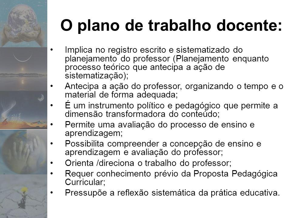 O plano de trabalho docente: Implica no registro escrito e sistematizado do planejamento do professor (Planejamento enquanto processo teórico que ante