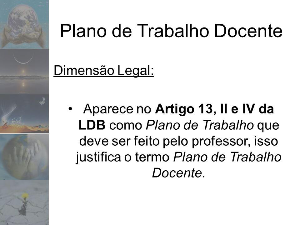 Plano de Trabalho Docente Dimensão Legal: Aparece no Artigo 13, II e IV da LDB como Plano de Trabalho que deve ser feito pelo professor, isso justific