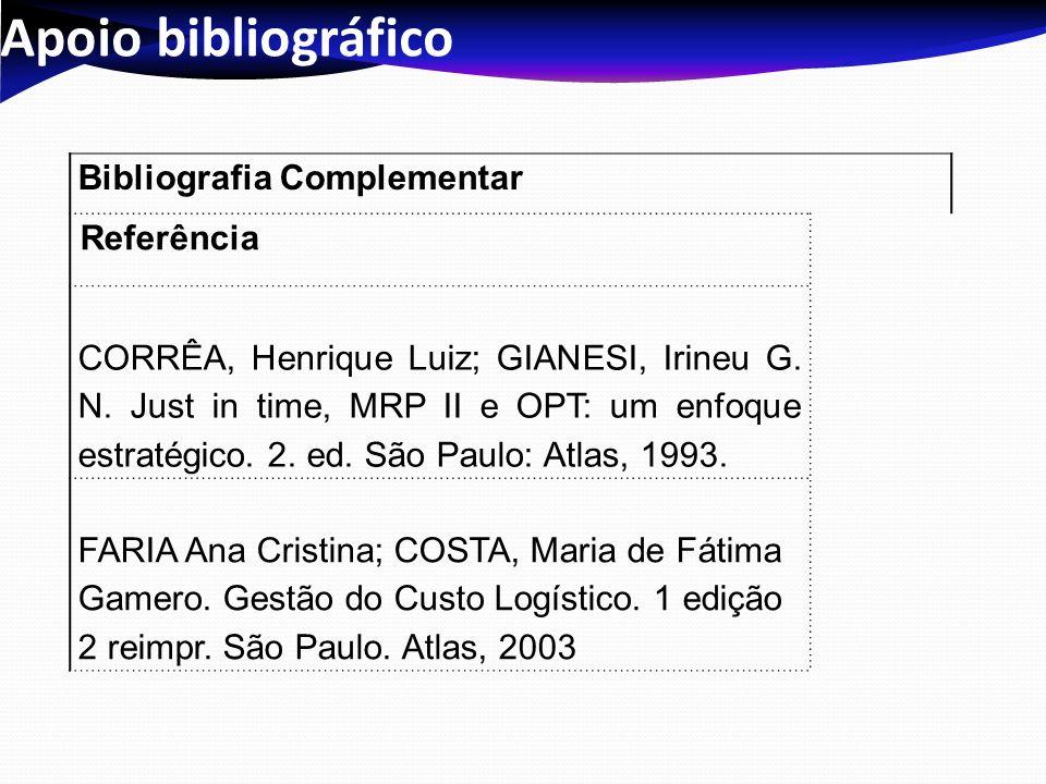 Apoio bibliográfico Bibliografia Complementar Referência CORRÊA, Henrique Luiz; GIANESI, Irineu G. N. Just in time, MRP II e OPT: um enfoque estratégi