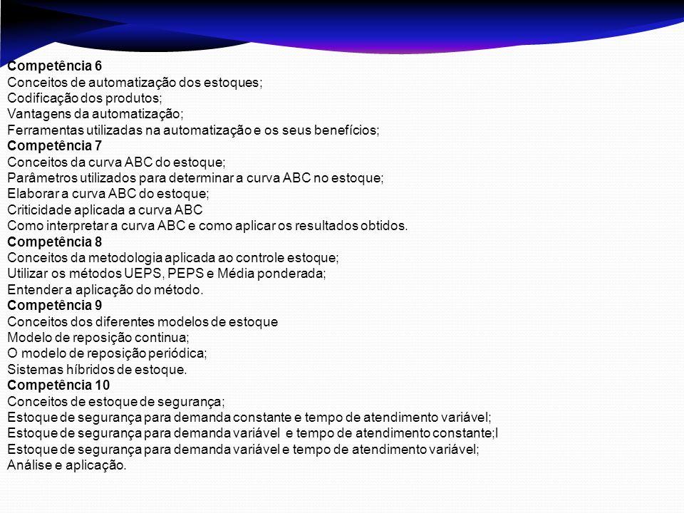 Competência 6 Conceitos de automatização dos estoques; Codificação dos produtos; Vantagens da automatização; Ferramentas utilizadas na automatização e