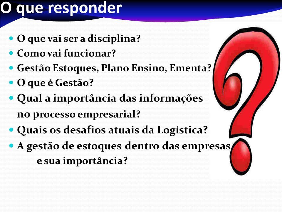 O que responder O que vai ser a disciplina? Como vai funcionar? Gestão Estoques, Plano Ensino, Ementa? O que é Gestão? Qual a importância das informaç