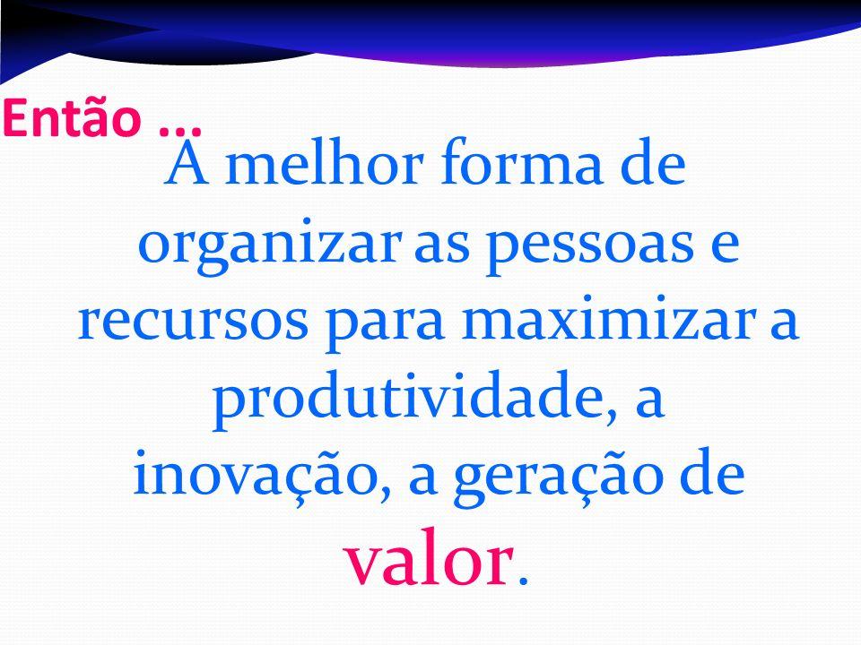 Então... A melhor forma de organizar as pessoas e recursos para maximizar a produtividade, a inovação, a geração de valor.