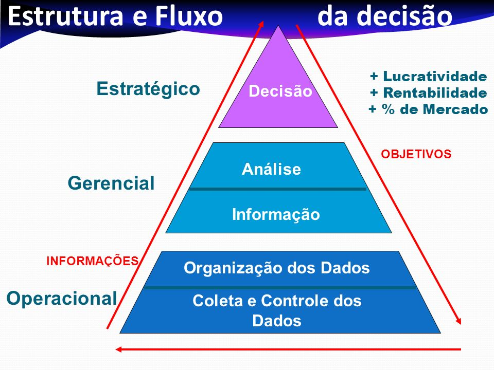 Estrutura e Fluxo da decisão Gerencial Estratégico Coleta e Controle dos Dados Análise Decisão Operacional Organização dos Dados Informação + Lucrativ