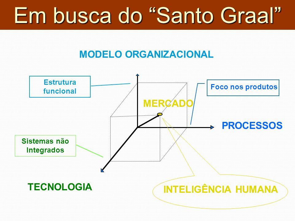 MODELO ORGANIZACIONAL PROCESSOS TECNOLOGIA INTELIGÊNCIA HUMANA Foco nos produtos Sistemas não Integrados Estrutura funcional MERCADO Em busca do Santo