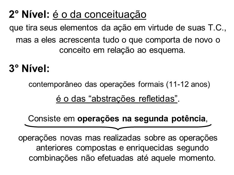 2° Nível: é o da conceituação que tira seus elementos da ação em virtude de suas T.C., mas a eles acrescenta tudo o que comporta de novo o conceito em