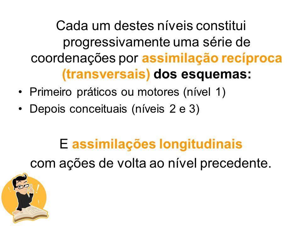 Cada um destes níveis constitui progressivamente uma série de coordenações por assimilação recíproca (transversais) dos esquemas: Primeiro práticos ou