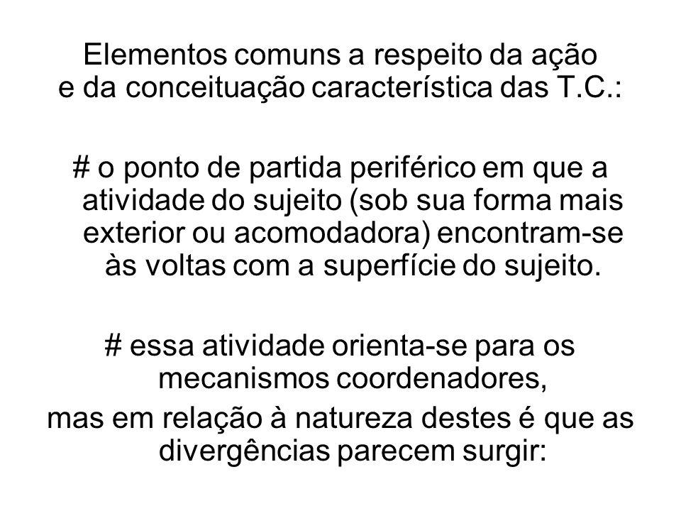 Elementos comuns a respeito da ação e da conceituação característica das T.C.: # o ponto de partida periférico em que a atividade do sujeito (sob sua