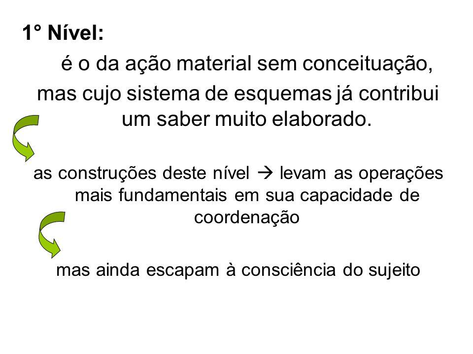 1° Nível: é o da ação material sem conceituação, mas cujo sistema de esquemas já contribui um saber muito elaborado. as construções deste nível levam