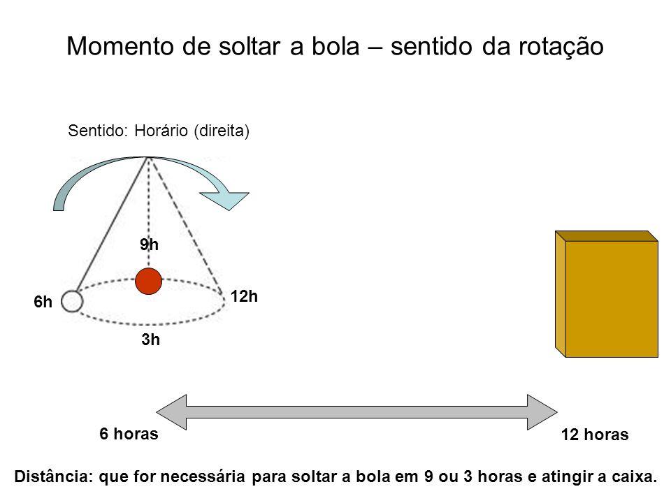 6 horas 12 horas Distância: que for necessária para soltar a bola em 9 ou 3 horas e atingir a caixa. 3h 6h 12h 9h Sentido: Horário (direita) Momento d