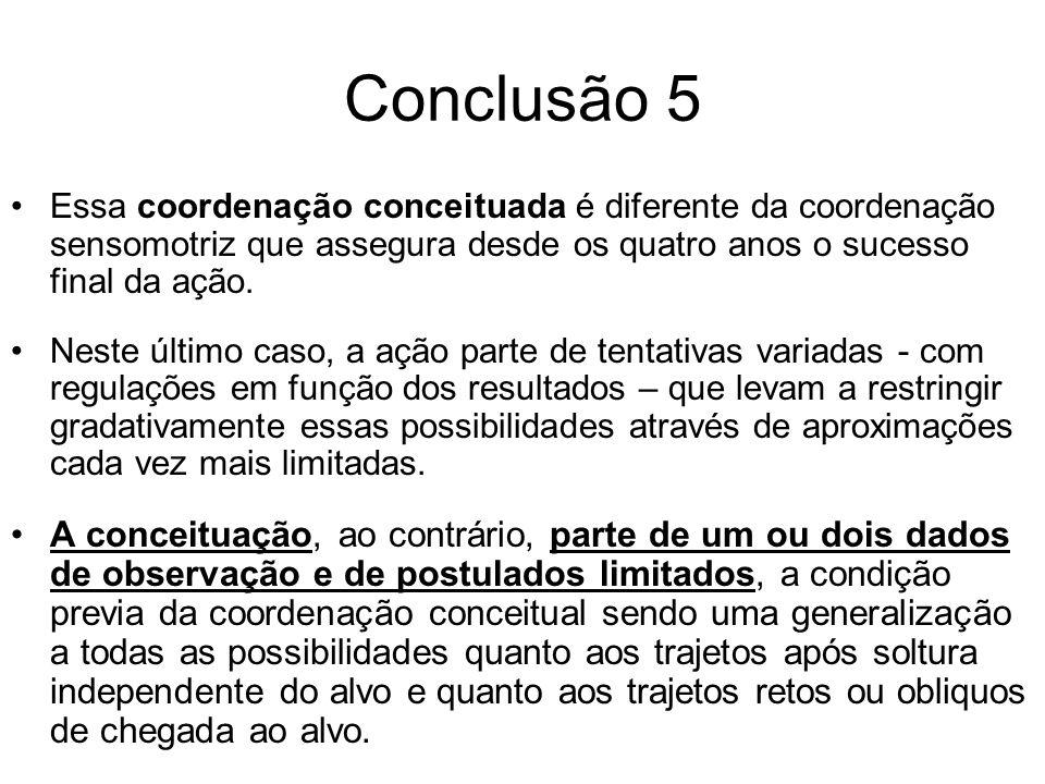 Conclusão 5 Essa coordenação conceituada é diferente da coordenação sensomotriz que assegura desde os quatro anos o sucesso final da ação. Neste últim