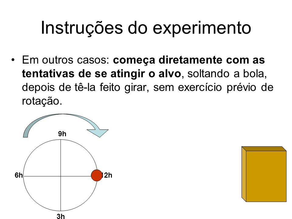 Instruções do experimento Em outros casos: começa diretamente com as tentativas de se atingir o alvo, soltando a bola, depois de tê-la feito girar, se