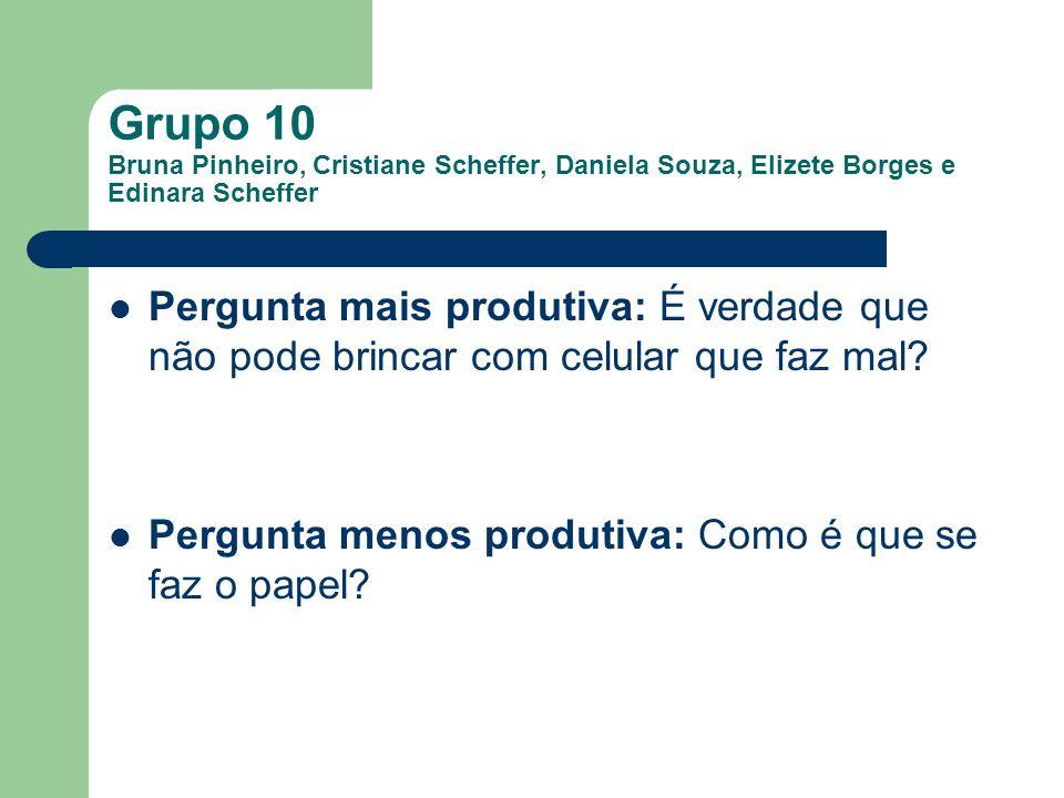 Grupo 10 Bruna Pinheiro, Cristiane Scheffer, Daniela Souza, Elizete Borges e Edinara Scheffer Pergunta mais produtiva: É verdade que não pode brincar