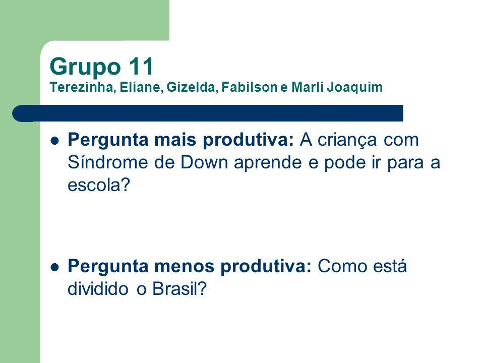 Grupo 11 Terezinha, Eliane, Gizelda, Fabilson e Marli Joaquim Pergunta mais produtiva: A criança com Síndrome de Down aprende e pode ir para a escola?