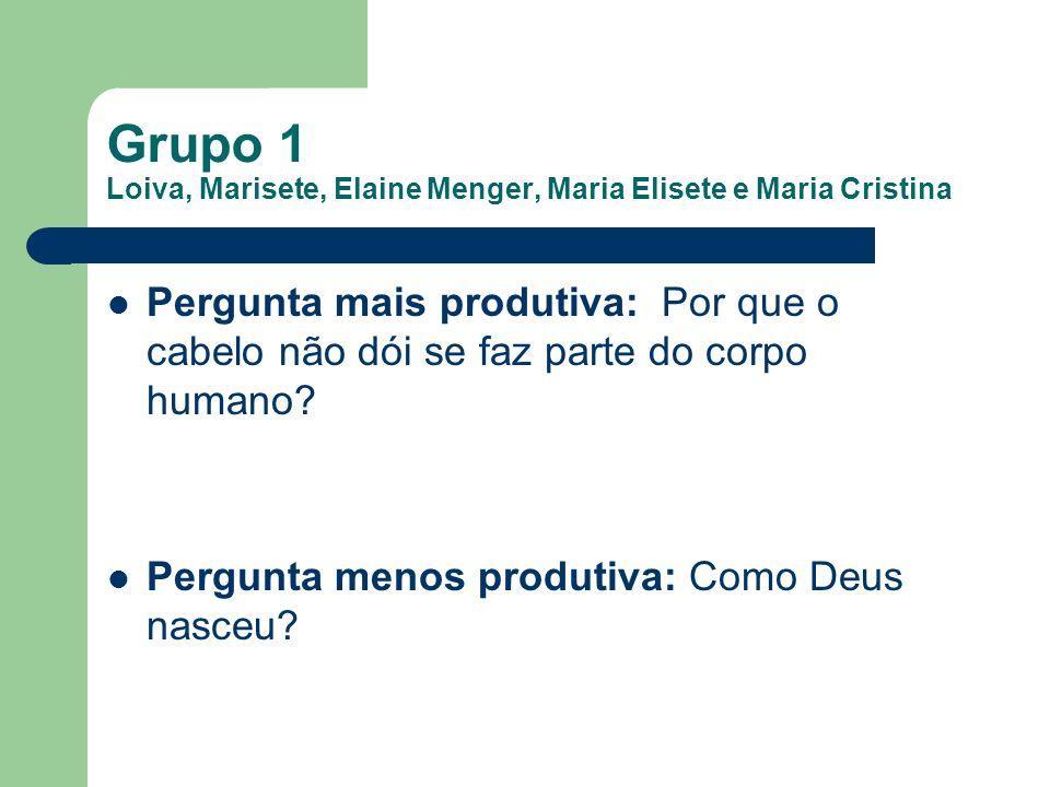 Grupo 2 Cristiana Selau, Simone Lentz, Gleiceméri Santos Pereira, Catiane Cardoso Vargas e Elaine Lazarotto Pergunta mais produtiva: O que é preciso fazer para voltar a ser pequeno.