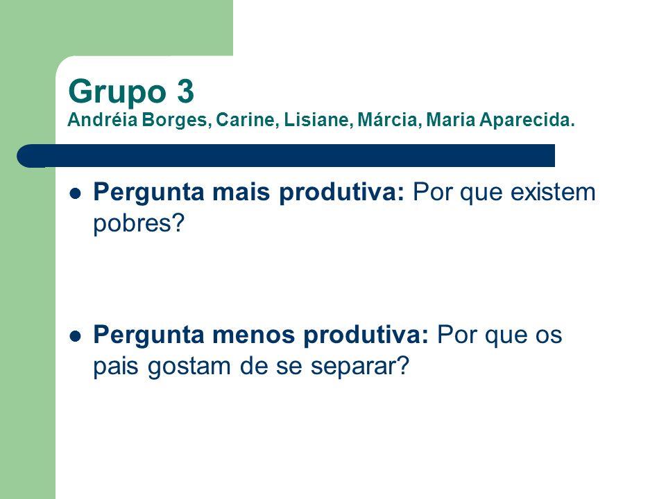 Grupo 3 Andréia Borges, Carine, Lisiane, Márcia, Maria Aparecida. Pergunta mais produtiva: Por que existem pobres? Pergunta menos produtiva: Por que o